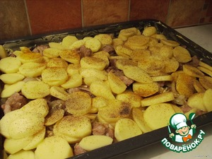 Now I cut the rings potatoes and also posted it on protoni. Also salt and pepper it.