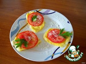 Украсить помидором и зеленью. Получается вот такая вкусняшка. Приятного аппетита и хорошего дня!