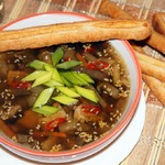 Грибной суп с баклажанами