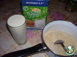 Готовим начинку.3 ст. молока смешать с кокосовой стружкой и с 3/4 ст. сахара, помешивая, довести до кипения. откинуть на марлю (2-3 слоя), немного остудить и хорошо отжать.
