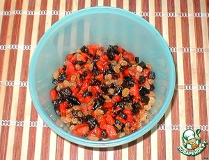 Prunes and dried apricots finely chopped.