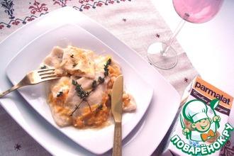 Рецепт: Равиоли с тыквой, яблоком и творогом