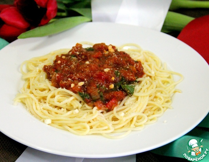 Рецепт: Спагетти с пепперони