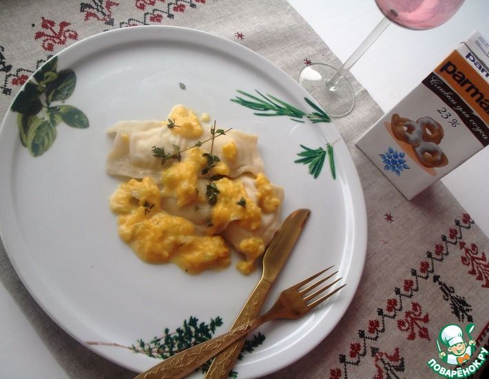 Рецепт: Равиоли с курицей и творогом