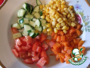 Cook the carrots and finely chop.  Cucumbers and tomatoes also cut into small cubes.  Add to corn, add salt to taste and mix everything. Yes... leave a little bit of each vegetable for decoration.