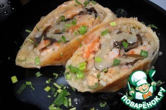 Рецепт: Морской рулет под чесночным соусом