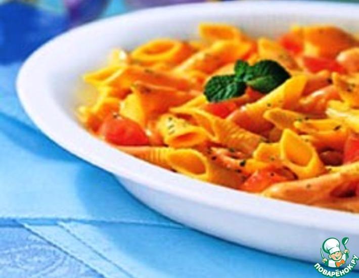 Рецепт: Пенне с помидорами черри и козьим сыром