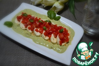 Рецепт: Моцарелла с салатом из перца и песто