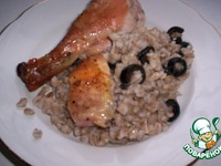 Курица, фаршированная перловой кашей и маслинами ингредиенты