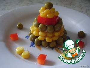 on top put the peas and decorate the plate all the components