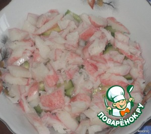Crab meat cut.