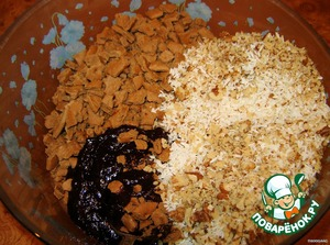 Add wafer crumbs (I replaced my remaining crushed chocolate Graham crackers and did not regret it), coconut, nuts and knead well.