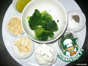 Примерный состав продуктов   спагетти, и броколли отварить в подсоленой воде 4-5 минут