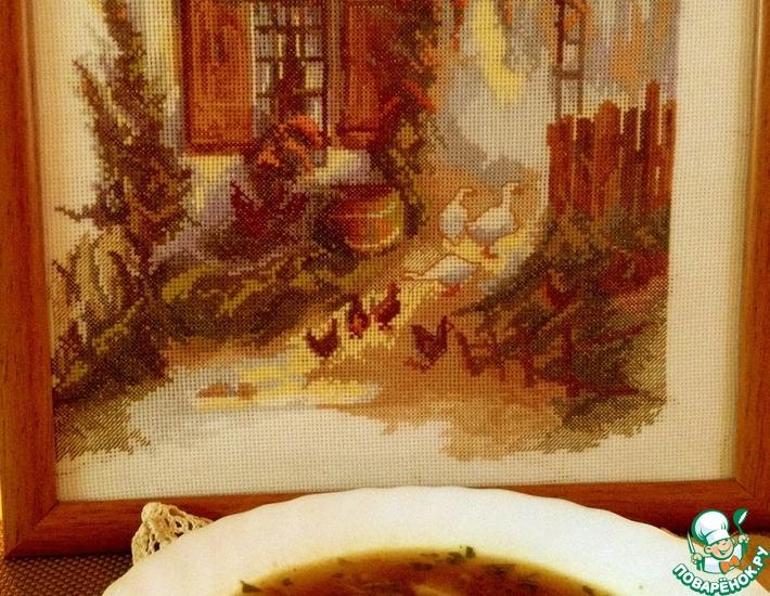 Рецепт: Постный суп с лапшой и грибами