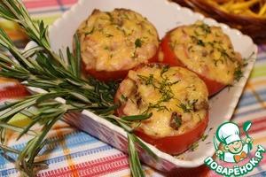 Готовые помидорки можно посыпать мелко нарезанной зеленью укропа.