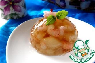 Рецепт: Заливное с дыней и креветками