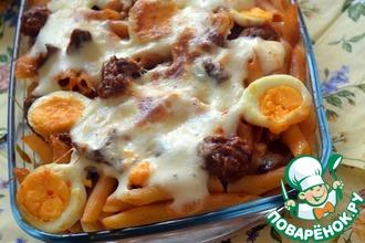 Рецепт: Паста аль форно с колбасками и лисичками