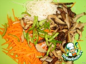 Добавить порезанные соломкой шляпки грибов шиитаке и порезанный перчик чили.