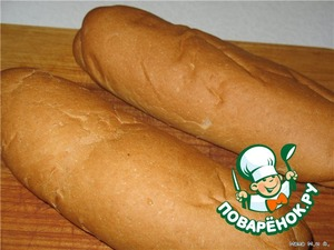 Берем батон или булки для хот-догов. У меня были 2 булочки