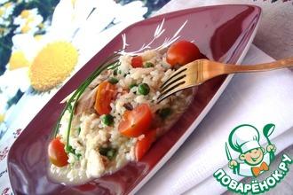 Рецепт: Ризотто с зеленым горошком, помидорами черри и копченым угрем