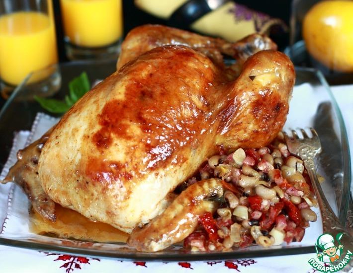 Рецепт: Цыпленок, фаршированный фасолью от Гордона Рамзи