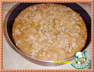 Bake in a hot oven 180°C approximately 1 hour and 20 minutes.I have baked less time. Test with a toothpick in readiness. Pull out of shape, cool, sprinkle with powdered sugar and serve.