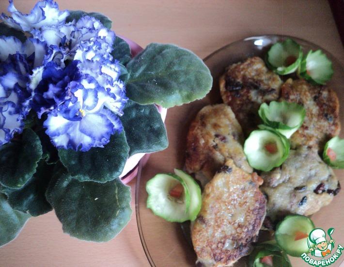 Рецепт: Картофельные оладьи с фасолью и грибами