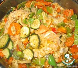 Добавить курицу к овощам, все потушить примерно 15-20 минут