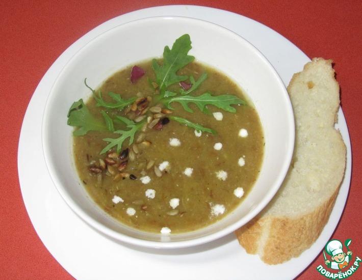 Рецепт: Постный тыквенный суп-пюре с чечевицей