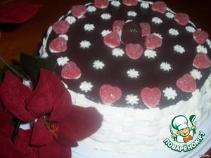 Когда застынет снять кольцо и украсить по своему желанию    или растапливаем шоколад в сливках и заливаем им торт.       ПРИЯТНОГО ЧАЕПИТИЯ!