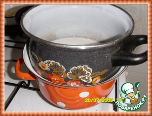 Heated in a water bath. When all is dissolved, remove from heat,