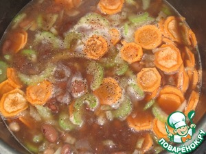 Onions, carrots, celery, sugar, salt, pepper, add to beans and cook for about 45 minutes.