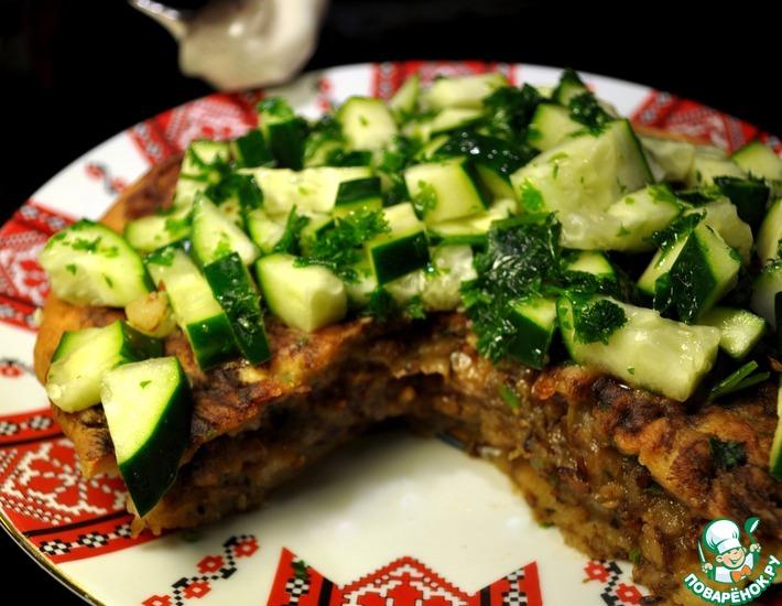 Рецепт: Постный картофельный пирог с гречкой и грибами