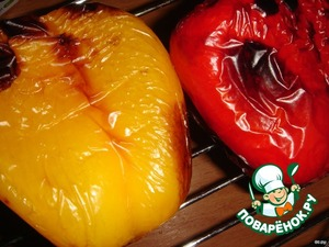 The peppers bake in the oven, or holding it over the gas hob or under the grill (I have a microwave in the