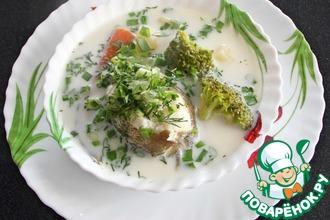 Рецепт: Суп из налима с брокколи и сливками