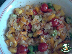 Mix vegetables with rice,mixed with fried onions and carrots.