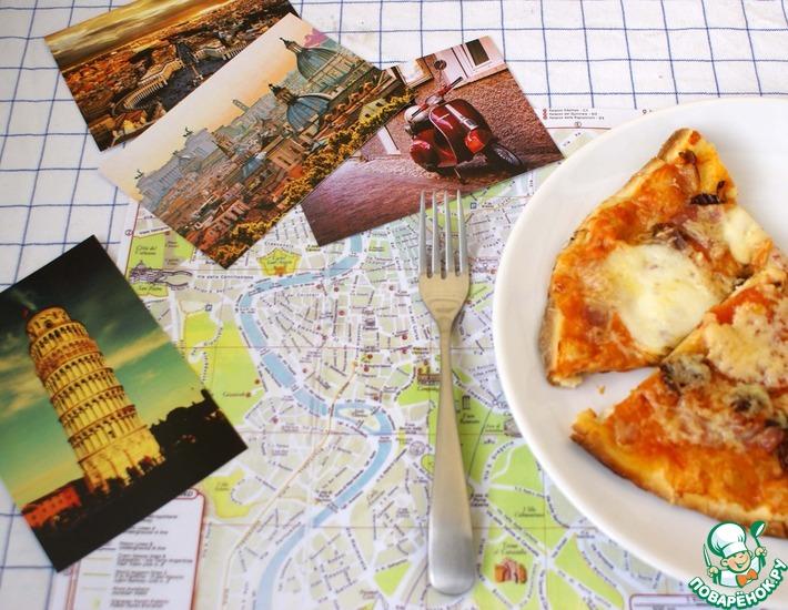 Рецепт: Пицца с моцареллой и беконом