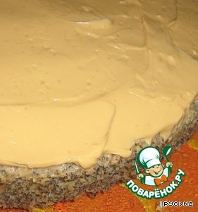 Poppy seed cake grease cream on top.