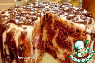 Рецепт: Шоколадный торт с творожно-йогуртовым кремом