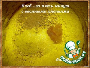 В кастрюлю (не мыть после использованного теста) насыпать муку,соль,мед,дрожжи,овсяные хлопья,влить теплую воду,перемешать тщательно,накрыть и дать постоять в тепле 2-3 часа,потом убрать в холодильник,где тесто может находиться от 3 часов до 10 дней(для вызревания)