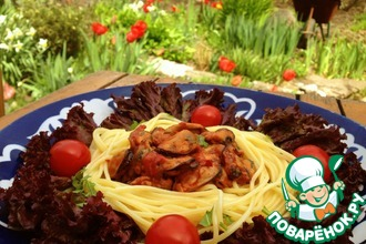 Рецепт: Паста с мидиями в томатном соусе
