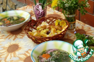 Рецепт: Суп гречневый с крапивой и гренками