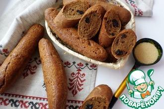 Рецепт: Домашние багеты с гречневой мукой и черносливом