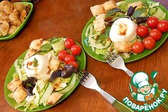 Рецепт: Салат с равиоли и яйцом-пашот