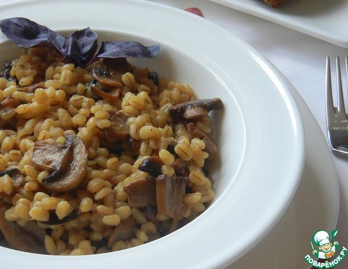 Рецепт: Перловая каша с грибами