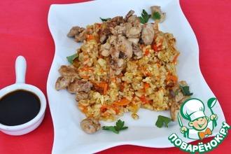 Рецепт: Жареный рис с молоками в соевом соусе Хибачи