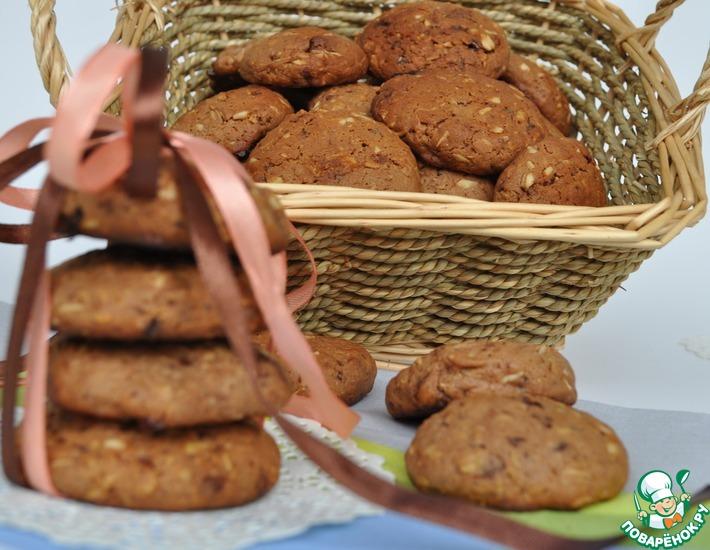 Рецепт: Печенье овсяно-шоколадное