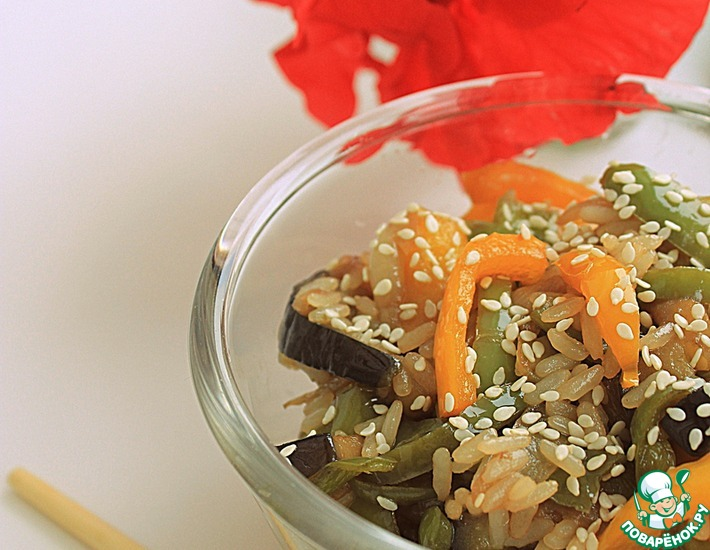 Рецепт: Стир-фрай с рисом и овощами