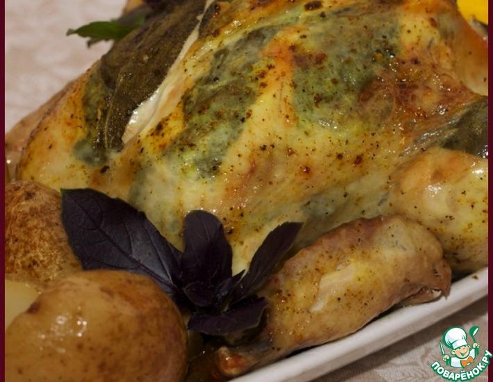 Рецепт: Курица, фаршированная лимоном и шалфеем