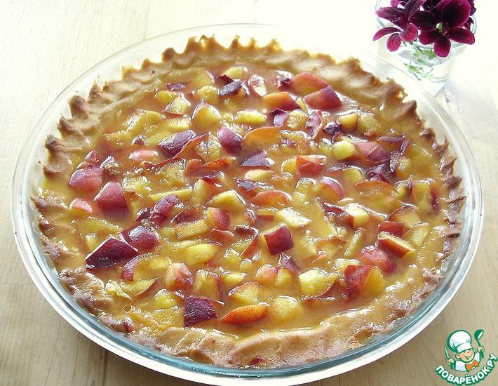 Рецепт: Персиковый тарт с апельсиновой заливкой